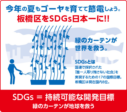 坂本あずまおの政策 今年の夏もゴーヤを育てて節電しょう。板橋区をSDGs日本一に!!